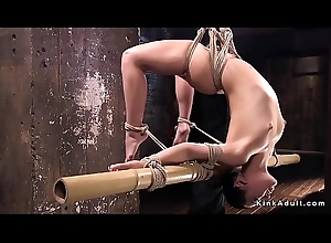 Hogtied neonate exposed ass whipped