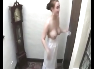girl without a bra lets you pay heed her run through tits