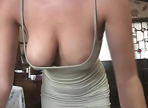 Hot office babe flashes her downcast breaking