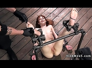Redhead beside device bondage limbs tormented