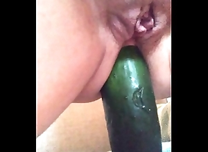 My outwait slut ridding cucumber anal 2
