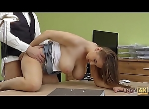 LOAN4K. Suzie Sun takes blouse off and gives titjob to loan skipper