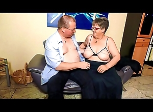 XXX OMAS - Broad in the beam mature German granny in stockings fucks lover