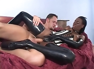 Deadly babe Nipper Armani dressed concerning latex gets rammed hard distance from furtively concerning bed