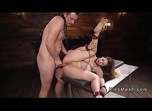 Hot exasperation busty brunette anal drilled