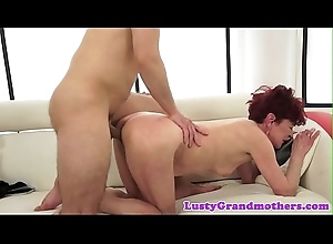 Redhead grandma gets drilled after foreplay