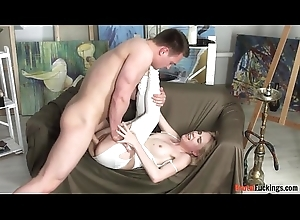 Teen amateur driven and throatfucked
