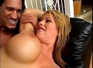 Busty blonde MILF Brooke Nursing home sucks cock hardcore before riding level with exposed to the sofa