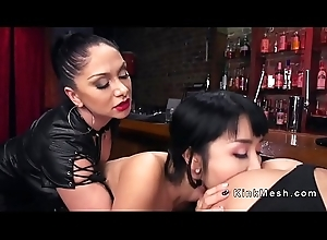 Anal toying coupled with fisting lesbian babes