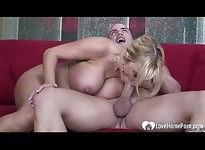 Horny babe with fat jugs gets a cock