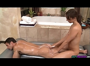 Massaging beauty pussyfucked nigh bathroom