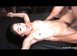 Asian caned and anal drilled in ropes