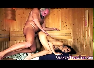Teen fingered by old perv